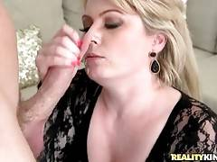 Lovely Mature Blonde Slurps Thick Cock 1